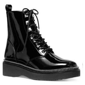 Michael Kors Haskell patent combat boots 6,6.5